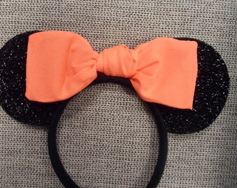 Sparkly Shimmery Disney Minnie Mouse Ears; Minnie Mouse Headband with Neon Orange Bow - Glow in the Dark Bow