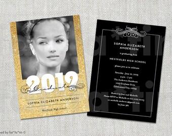 Elegant Scrolls Sparkling Glitter Class of 2016 Graduation Announcement & Party Invitation | Custom Photo Graduate Card PRINTED / PRINTABLE