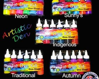 "Tye Dye Set 6 Colours Dyes up to 20 Projects  Artistic Den Tie Dye Kit  "" FREE POSTAGE """