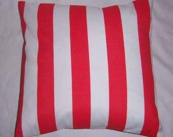 "Premier Print Orange Red & White Stripe Pillow Cover 18"""