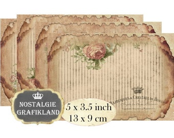 Postcards Background Ephemera Vintage printable 5 x 3.5 inch Instant Download digital collage sheet P162