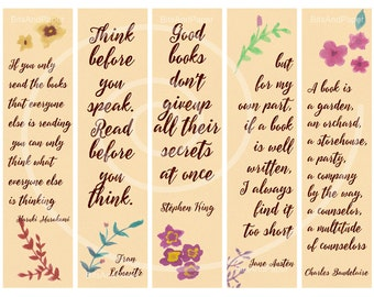 Printable bookmarks, digital collage sheet, bookmarks with quotes about reading, watercolor bookmarks, calligraphy print, instant download