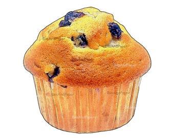 Muffin illustration, 5x7 retro digital image, food illustration, kitchen art, vintage inspired, digital bakery, instant download, printable