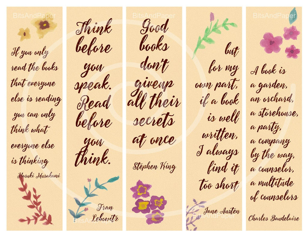 Bookmarks to color of dr king - Printable Bookmarks Digital Collage Sheet Bookmarks With Quotes About Reading Watercolor Bookmarks Calligraphy Print Instant Download