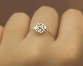 Sterling silver rose ring - boho ring - boho jewelry - sterling silver ring - unique ring - cute ring - wire wrapped ring