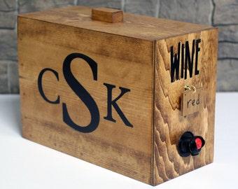 Wine barrel monogram wine box dispenser decanter Christmas gift wedding reception party wine bag
