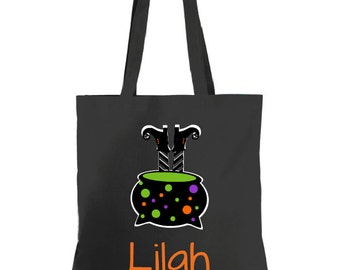 Witch Personalized Halloween Tote, Personalized Tote, Halloween Bag, Trick or Treat Bag