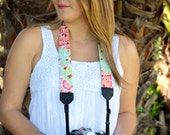 Womans camera strap, floral camera strap, womens reversible camera strap, pink green blue red, gift for photographer, mothers day dslr slr