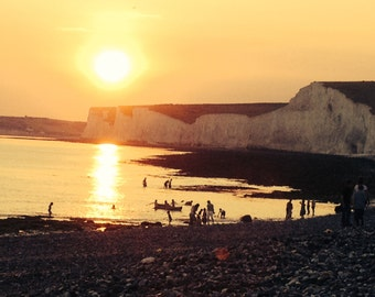 South coast sunset/ Sepia sunset photograph/ Vintage style photography/ Seaside photograph/ Sea Art/ Golden coloured photography/ Lost Boys