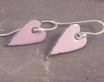 Rose Pink enamel heart earrings, wedding jewellery,romantic heart shaped copper enamel earrings,, pink heart drop earrings #0074