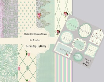 Shades of Green Shabby Chic Papers and Mats. (DOWNLOAD)