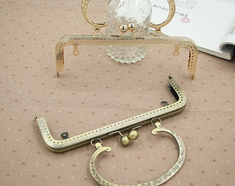 1 PCS, 20cm / 8 Inch Sew In Solid Squared Golden / Bronze Kisslock Purse Frame with Vintage Half Circle