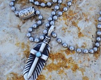 Turquoise Feather of Faith Pendant