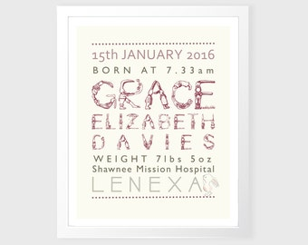Personalized Baby Stats Print - Birth Announcement Art - Personalized Baby Gift - Nursery Wall Art, Printable, Nursery Wall Decor, Baby Girl