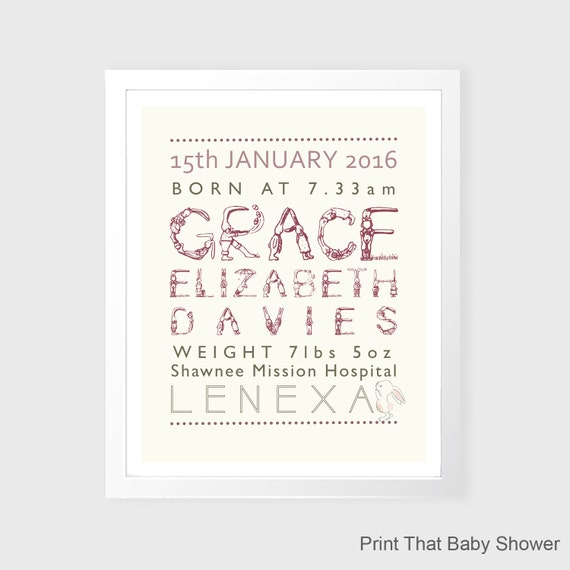 Personalized Baby Stats Print - Birth Announcement Art ...