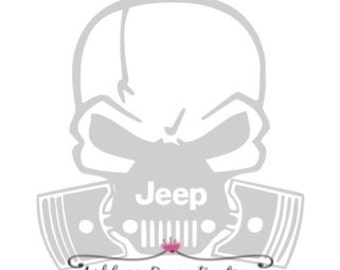 Decal- Jeep Skull Decal- Skull Decal- Jeep Decal- Car Decal
