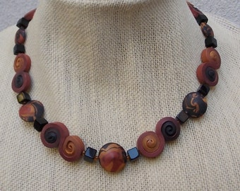 Handmade Bead Necklace in Spiral Brown & Black Beads