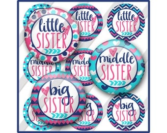 Sisters Bottle Cap Images, Big Sister, Little Sister, Middle Sister, Printable