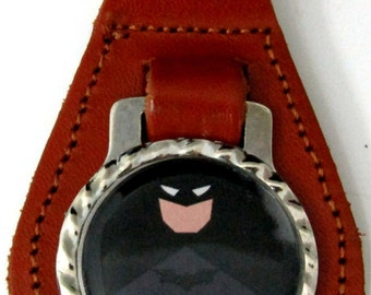 Batman Basic Comic Brown Leather Key Fob With Steel Ring FOB-0065