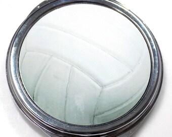 Volleyball Inset Metal Compact Makeup Mirror Case MEN-0033