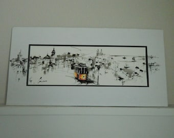 Original Watercolor Painting of San Francisco Cable Car Street Scape - Signed by Artist Original Watercolor Pen & Ink - Mid Century Painting