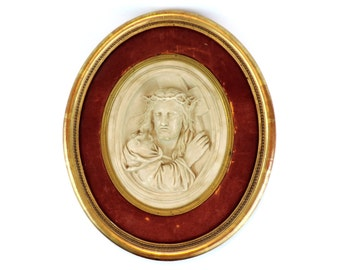 French Vintage Framed Christ/ French Vintage Religious Bakelite Christ In A Frame/Antique Christ