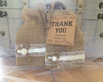 Burlap and Lace Wedding Party Favor Bags for Rustic Weddings, Party Favors for Weddings, Rehearsal Dinners or Parties - Wedding Table Decor
