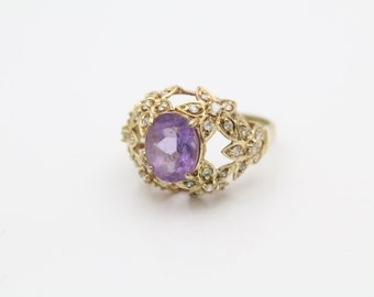 Vintage Pierced Flower Design Ring in CZ and Gold Over Sterling Silver Size 9. [11058]