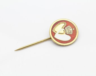 Vintage Society of Saint Pius X Stick Pin in Enamel and Gold Over Sterling Silver. [11135]