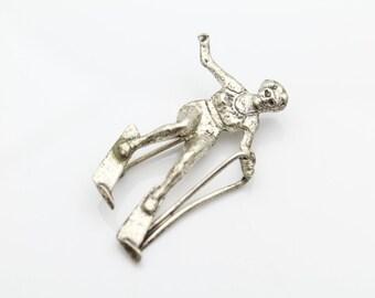 Vintage Beau Waterskiing Lady Brooch Sterling Silver. [6537]