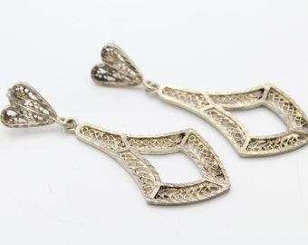 Vintage Filigree Long Dangle Earrings With Heart Motif in Sterling Silver. [7353]