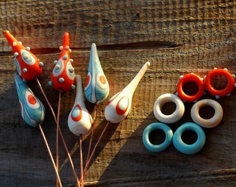 Handmade lampwork etched  headpins made on copper wire / etched glass / beading / wire wrap