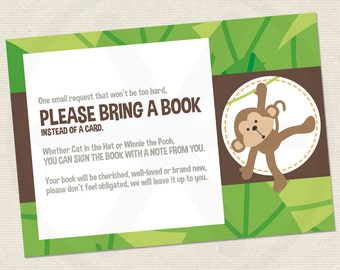 Please bring a book instead of a card - Safari Baby shower book request card -  Printable PDF file.