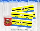 Printable Minion Mini Pringles wrapper  - Minions Mini Pringles favor - Minions Mini Pringles wrappers   -  Minions favor - Instant Download