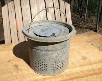 Vintage Galvenized Insulated Minnow Bucket
