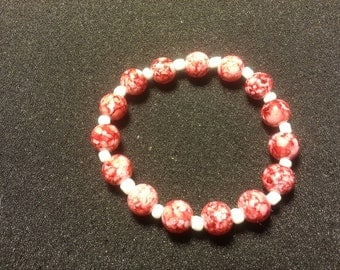 Marble Red with white beads