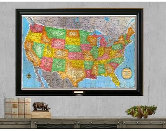 Us Travel Map Etsy - Us travel map on cork board