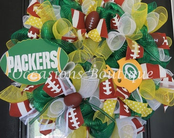 Green Bay Packers Wreath, Football Wreath, Fall Wreath, Packer Decoration, Door Hanger, Front door wreaths, Double door wreaths