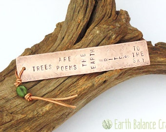 Bookmark, Trees are Poems, Gifts for Men, Rustic Copper Bookmark, Natural Leather, Hand Stamped, Book Worm, Metal, Book Lover Gift, Earthy