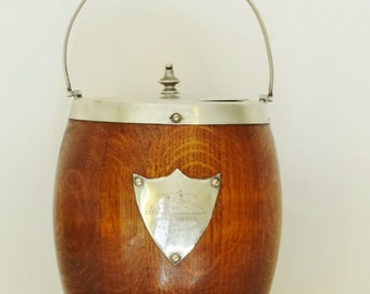1930s OAK & SILVERPLATE CANISTER - Biscuit Barrel (Cookie Jar) or Bar Ice Bucket - White Ceramic Interior - Very Good Condition