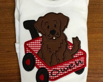 Baby Boy Appliqued Puppy Wagon Personalized Newborn to 18 Months Bodysuit Boys 12 months -18 months 3T, 4T or 5T tshirt