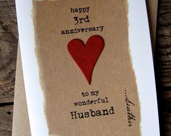 3rd Wedding Anniversary Card LEATHER Traditional Symbol Handmade Keepsake Wife Husband Third Wedding Anniversary
