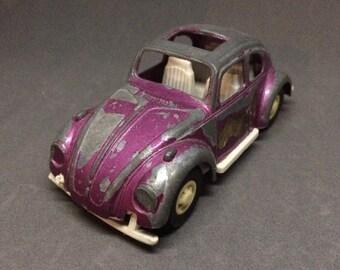 Vintage VW Beetle Tootsie Toy Purple Diecast Volkswagen Bug