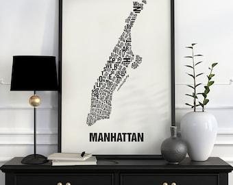 Manhattan Typographic Map Screen Print