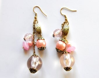 Pastel Pink Beaded Earrings - Vintage Long Chain Dangles - Girly Retro Golden Earrings - Grape Dangle Earrings, Cascading Earrings