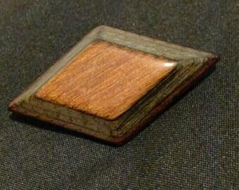 Vintage wood brooch, diamond shaped