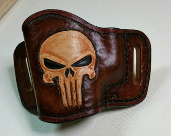 Leather holster punisher OWB Custom tooled Gun holster Conceal Carry CCW