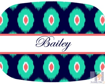 Monogram navy, mint and coral personalized gift ikat platter.  The perfect gift- entertain with style! Dishwasher safe! Custom gifts!