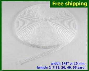 "PROMO DISCOUNT !!! 3/8""(10mm) White Nylon webbing fabric lots DIY supply 3 7 15 20 40 55 yard"