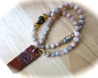 Rainbow Jasper and Peach Moonstone Pendant Necklace